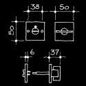 Bad-WC-Rosetten - WC/Bad-Drehriegel Bauhaus Gropius Walter (52.935.64.)