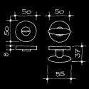 Bad-WC-Rosetten - WC/Bad-Drehriegel Schweizer Design Brodbeck Rino (55.118.60.)
