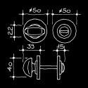 Rosaces pour salle de bains et WC - Boutons tournants pour WC Epoque industrielle (55.555.03.)