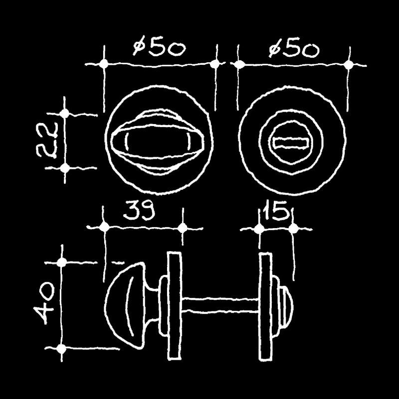 Boutons tournants pour WC Epoque industrielle (55.555.03.)