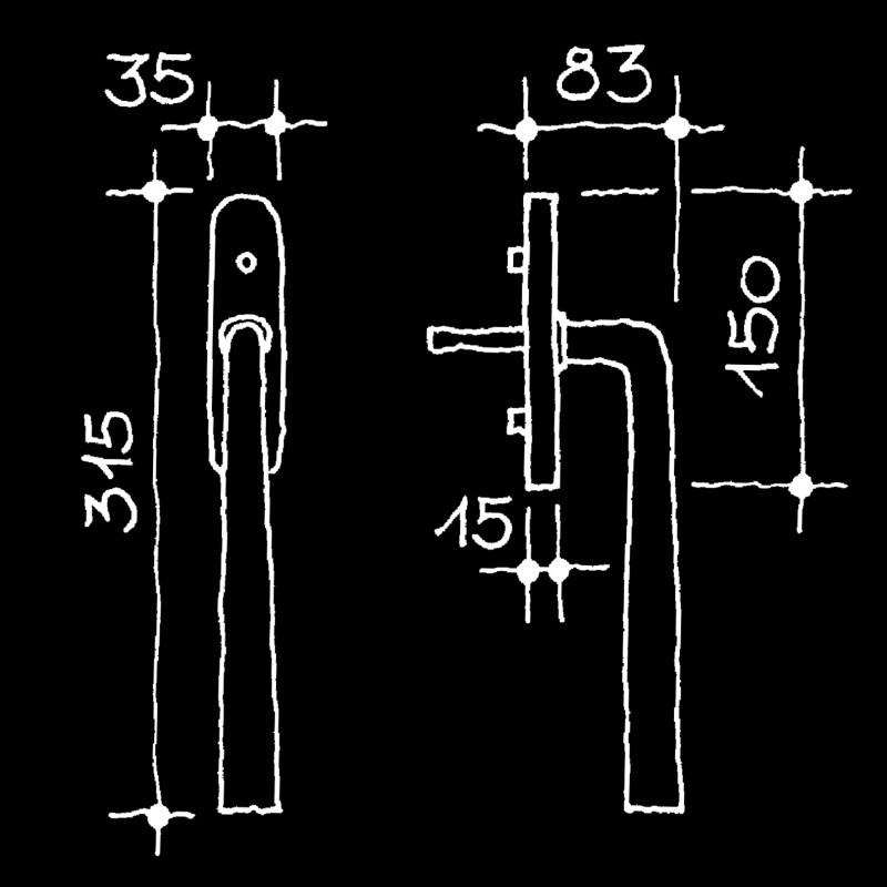 Hebeschiebetürgriffe Bauhaus (67.786.11.)