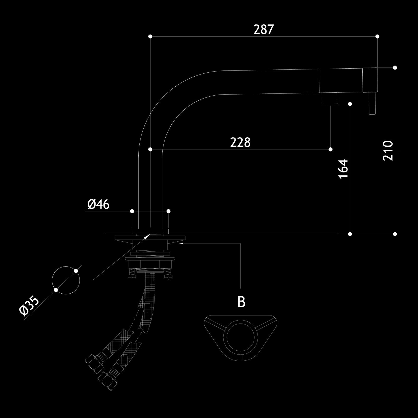 Mgs armaturen sp ltisch einlochgarnitur mgs edelstahl schwarz matt - Mgs armaturen ...